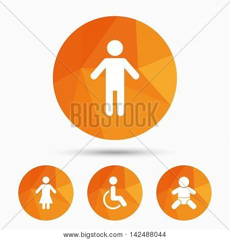 WC toilet icons. Human male or female signs. Baby infant or toddler. Disabled handicapped invalid symbol. Triangular low poly buttons with shadow. Vector poster