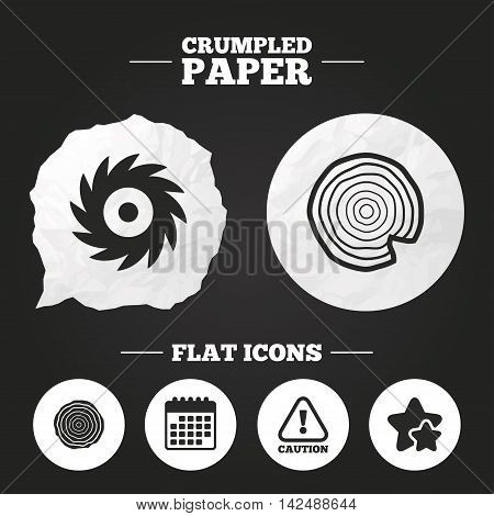 Crumpled paper speech bubble. Wood and saw circular wheel icons. Attention caution symbol. Sawmill or woodworking factory signs. Paper button. Vector