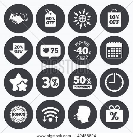 Calendar, wifi and clock symbols. Like counter, stars symbols. Sale discounts icon. Shopping, handshake and bonus signs. 20, 30, 40 and 50 percent off. Special offer symbols. Talking head, go to web symbols. Vector