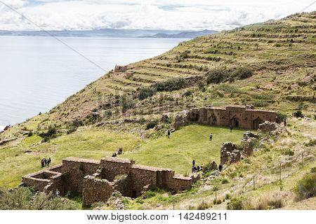 Inca ruins of Temple of the Virgins of the sun on Isla de la Luna, lake Titicaca, Bolivia.