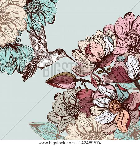 Retro styled illustration or save the date card with hand drawn magnolia flowers and hummingbird