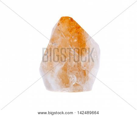 Citrine point stone healing crystal separated on white background