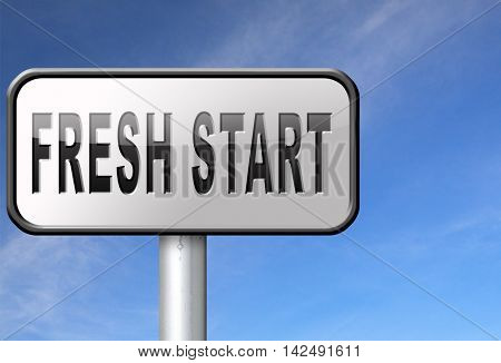new fresh start or chance back to the beginning and do it again road sign billboard 3D illustration