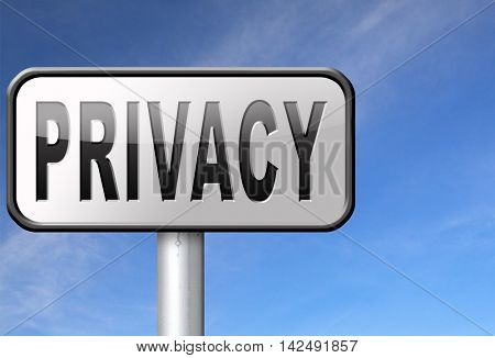 private and personal information road sign, billboard for privacy protection and discretion of restricted info and data 3D illustration