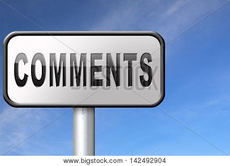 Comments road sign, feedback on blog and give your customer comment opinion and testimonials