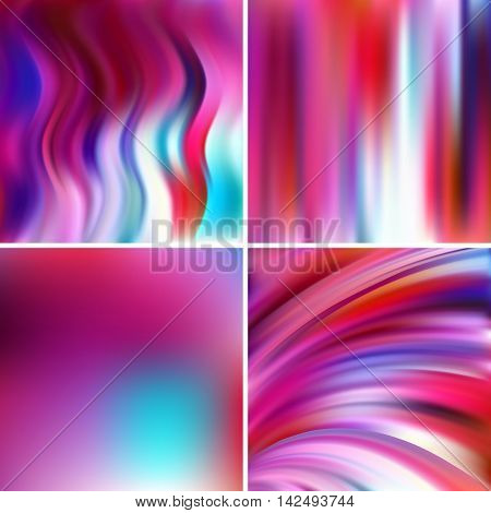 Abstract Vector Illustration Of Colorful Background With Blurred Light Lines. Set Of Four Square Bac