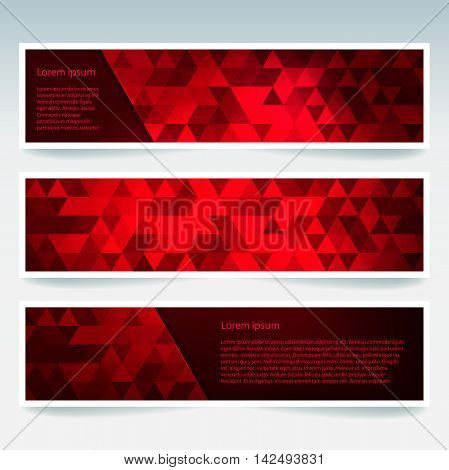 Vector Banners Set With Polygonal Abstract Triangles. Abstract Polygonal Low Poly Banners.
