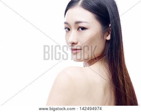 portrait of a young and beautiful asian model isolated on white background.