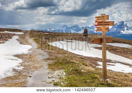 Signpost On The Kronplatz  Mountain