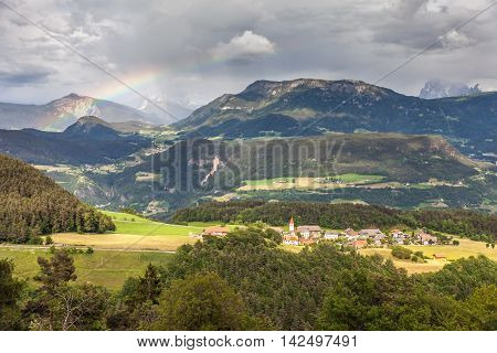 Mountain panorama of Lengstein at Renon South Tyrol Italy