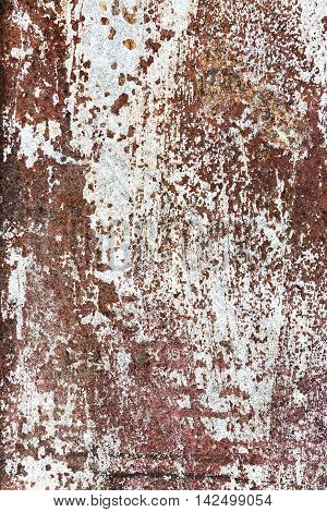 Damaged Rust Metal Surface With Corroded White Paint Texture