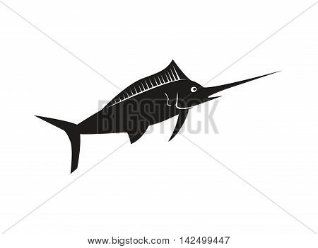 flat design single swordfish icon vector illustration