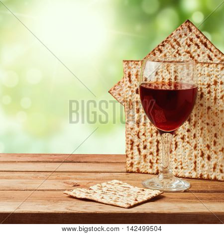Background with matzo and wine for Jewish Passover celebration
