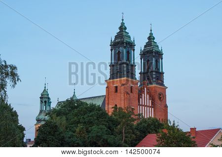 Poznan, Poland - July 1, 2016: View At Sunset On Cathedral Church In Polish Town Poznan