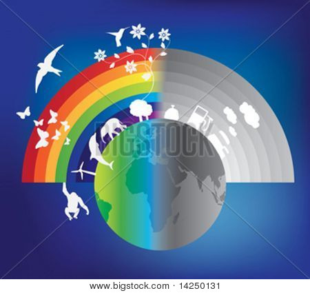Illustration of  a healthy and dying planet earth with rainbow