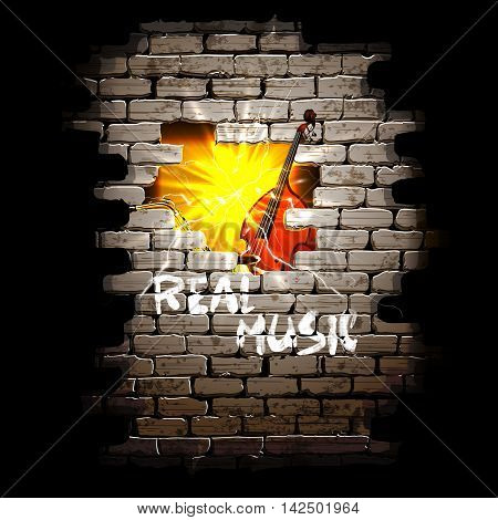 Musical background breakthrough in the brick wall with sax and bass in a flash of bright light.