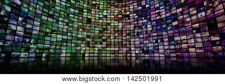 Colorful giant multimedia video and image wall