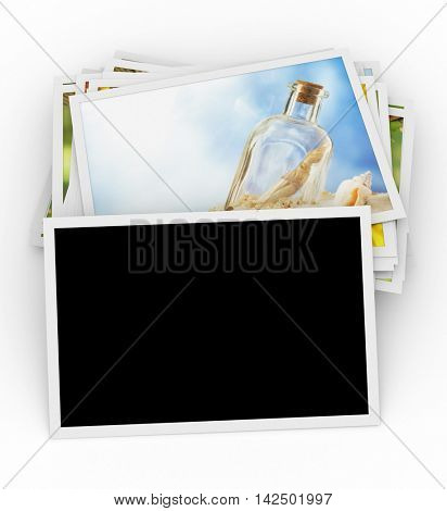 Stack of photos with blank photo on top