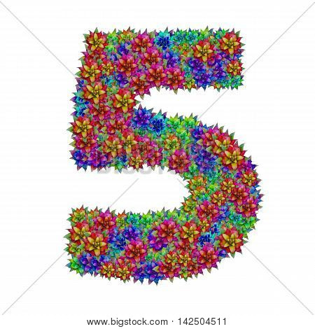 Number 5 made from bromeliad flowers isolated on white background with clipping path