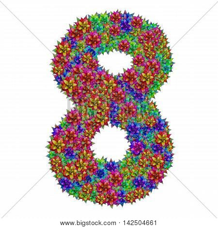 Number 8 made from bromeliad flowers isolated on white background with clipping path