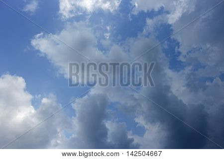 Dark blue sky with big cloud  in nature beautiful