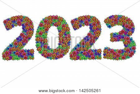 New year 2023 made from bromeliad flowers isolated on white background with clipping path
