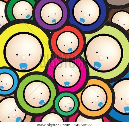 Illustration of  a funky baby wallpaper bright background