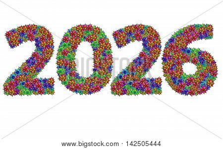New year 2026 made from bromeliad flowers isolated on white background with clipping path