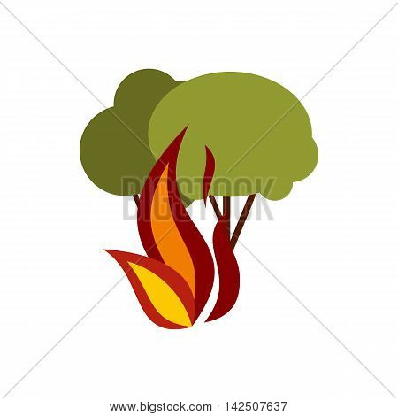 Fire in woods icon in flat style isolated on white background. Danger symbol
