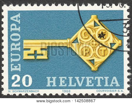 MOSCOW RUSSIA - CIRCA APRIL 2016: a post stamp printed in SWITZERLAND shows an emblem of Europa circa 1968