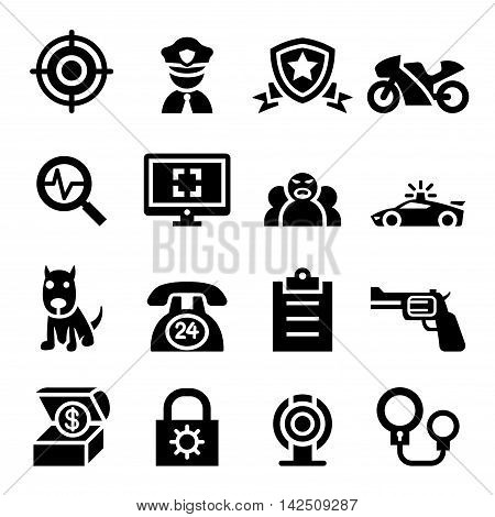 Police & security icon set  Vector illustration Graphic design