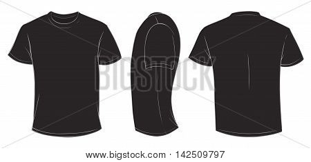 Vector illustration of blank black men t-shirt template front side and back design isolated on white