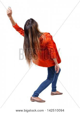 Balancing young woman.  or dodge falling woman. Rear view people collection.  backside view of person.  Isolated over white background. girl in a red jacket bends back.