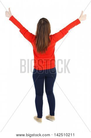 Back view of  woman thumbs up. Rear view people collection. backside view of person. Isolated over white background. The girl in the red sweater held up both hands with thumbs up.