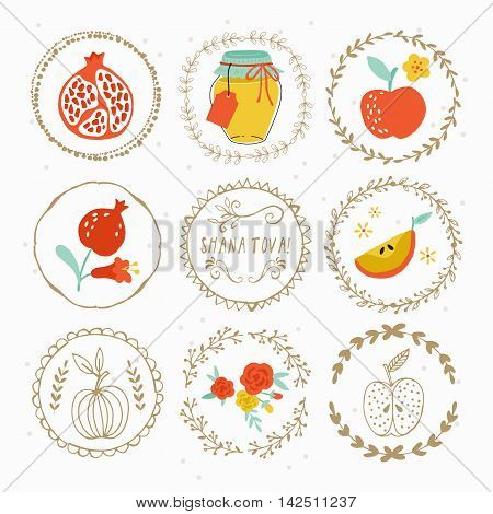 Hand Drawing Laurels And Round Frames Design For Jewish New Year Rosh Hashana Holiday