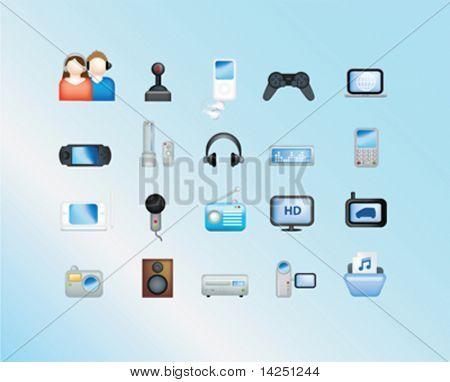 electronic illustration set of icons and symbols on blue