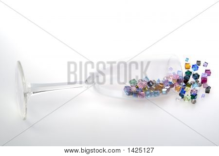 Champagne Glass Spilling Beads