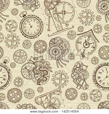 Seamless textured background with vintage clocks and mechanical parts. Graphic linear pattern with engraved drawings, illustration with retro watch and mechanism, steampunk and old technology style