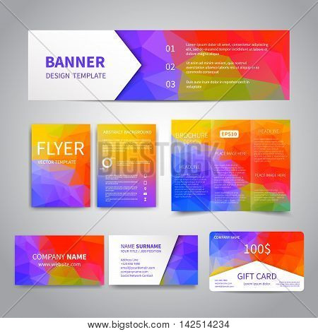 Banner, flyers, brochure, business cards, gift card design templates set with geometric triangular colorful background. Corporate Identity set, Advertising, promotion printing