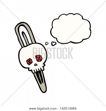 freehand drawn thought bubble cartoon skull hairclip