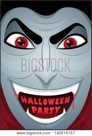 Dracula poster. Mr. Vampire. Halloween poster. Halloween cardposter. Vector illustration.