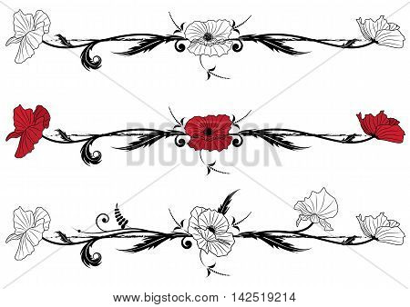 set of vector floral vignettes with poppy in black red and white colors