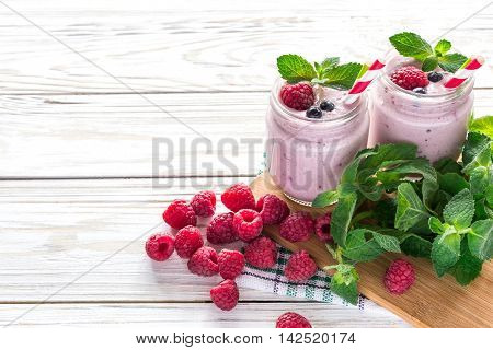 Raspberries Fruit Smoothie Or Milk Shake