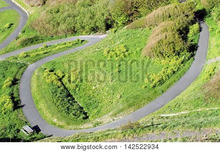 Overhead view of a winding path on a hillside.
