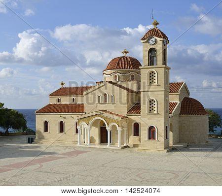 St Raphael Church, Pachyammos New Church Chrysohou Bay Cyprus Holy Church of Saints Rafil Nikolaos and Eirini Inaugurated 3rd May 1992