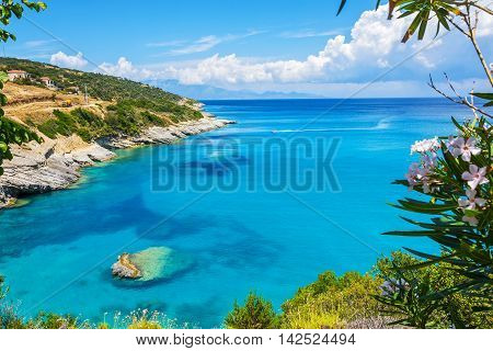 Bay gray-hydrogen sources Higiya beach on Zakynthos island