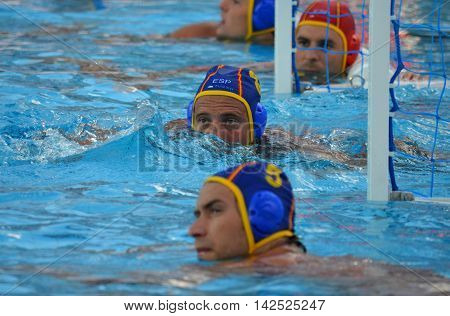 Budapest Hungary - Jul 15 2014. Albert ESPANOL LIFANTE (ESP 8) waiting for the referee's beep. The Waterpolo European Championship was held in Alfred Hajos Swimming Centre in 2014.
