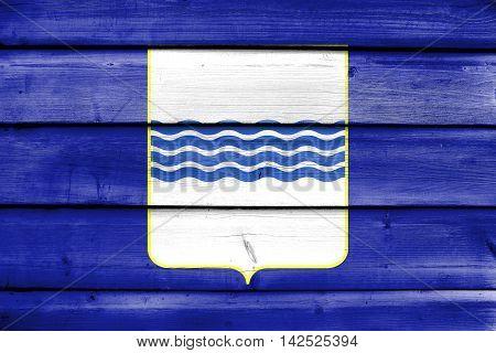 Flag Of Basilicata, Italy, Painted On Old Wood Plank Background