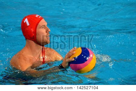 Budapest Hungary - Jul 15 2014. Viktor Nagy (HUN 1) goalkeeper with the waterpolo ball. The Waterpolo European Championship was held in Alfred Hajos Swimming Centre in 2014.