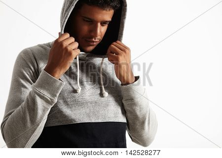 Young Black Man In Gray And  Hoodie